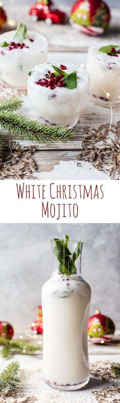 White Christmas Mojito This drink is simple as can be and perfect for all your holiday parties. The post White Christmas Mojito appeared first on Getränk. Party Drinks, Cocktail Drinks, Fun Drinks, Yummy Drinks, Cocktail Recipes, Beverages, Party Snacks, Cocktail Ideas, Drink Recipes
