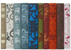 New jacket designs of classic books...perfect for adding a bit of whimsy to a  bookshelf. (Coralie Bickford-Smith...senior cover designer at Penguin Books )