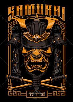 Samurai poster design vector image on VectorStock Japon Illustration, Face Illustration, Graphic Design Illustration, Tattoo Guerreiro, Tattoo Samurai, Stammestattoo Designs, Samurai Wallpaper, Samurai Artwork, Pop Art Wallpaper