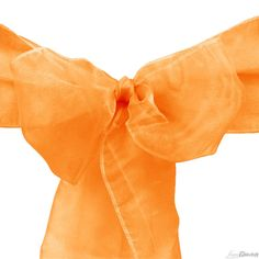 Buy orange organza sashes for your wedding chair covers at LinenTablecloth! Use them as a chair accent or as wedding décor. Also available are stretch and satin chair sashes.