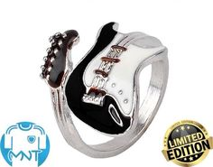 Cheap guitar ring, Buy Quality black ring directly from China ring style Suppliers: Meetcute Personalized Style Punk Style Bright Colorful Glazed Guitar Ring White And Black Ring Musical Tools Bijoux Jewelry Style Punk Rock, Punk Rock Fashion, Music Jewelry, Cute Jewelry, Jewelry Accessories, Music Rings, Jewlery, Jewelry Rings, Unique Jewelry