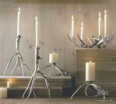 $80.00 Roost Polished Antler Candlesticks