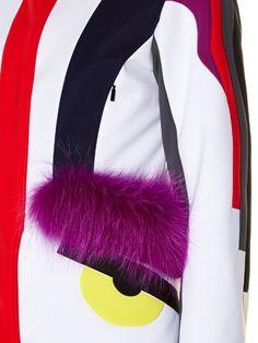 Fendi Bag Bugs fur-trim panelled ski jacket