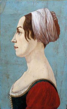 Profile Portrait of a Woman  1490s  Piero del Pollaiolo, Italian, 1443-1496. Such a modern face and hair!