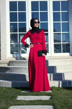 Red dress and black lace collar and cuffs