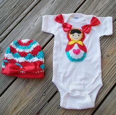 In Stock LITTLE MATRYOSHKA Doll Onesie Set by NinisHandmades, $38.00
