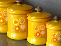 """Kitchen Canister Set Metal Yellow Flower by Westbend Yellow Kitchen Decor. $32.00, via Etsy. @Elyse Bronkalla  since grandma's are moving with her and someone already asked her for them and has """"dibs"""", i found these for you! :)"""