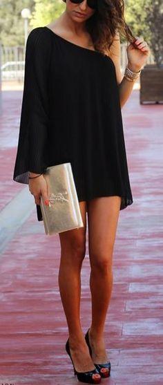 Women's fashion   One shoulder vaporous black dress