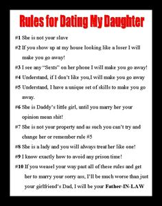 Rules for dating my daughter mom