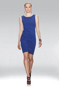 "ETCETERA - ""ELAN"" $275 Blueberry sleeveless sheath dress with ruching & exposed zipper detail"