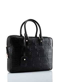 Versace - Greca embroidered Leather Holdall