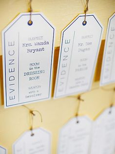 Evidence tag, like in the game Clue, seating chart. Clue Themed Parties, Mystery Parties, Vbs Themes, Party Themes, Party Ideas, Party Fun, Teenage Boy Birthday, 30th Birthday, Rehearsal Dinner Themes