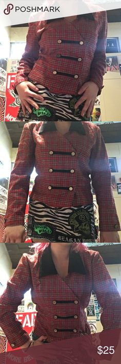 ⚡️Vintage☠️ Punk Plaid Military Blazer This rockn' piece is so ready to get diy'd & fiddled with. I wish it fit me better😩. Perfect condition except the stitches on the back where I presume someone had a patch or something before. No inner lining, very light fabric, soft black collar, & nautical buttons. Fits true to size medium. Lmk if you have any ore questions. Happy Poshing!❣️ Jackets & Coats Blazers
