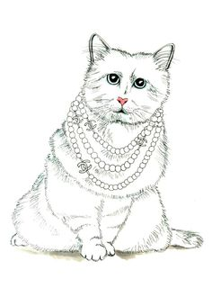 Choupette Lagerfeld Chanel chat - Illustration Art Print