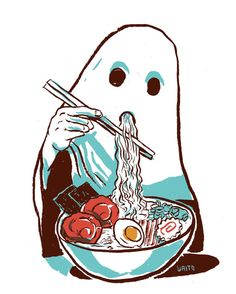 Ghost Eating Ramen Illustration Glicee Print by waitominute, $20.00