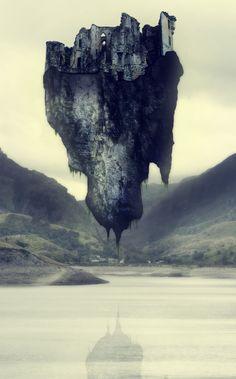 Floating island ruins
