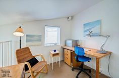 The great advantage of this three-level home is that you can access the workspace from the street without disturbing those upstairs Light Well, Level Homes, Sloped Ceiling, Skylight, Corner Desk, Condo, Lofts, Space, Bedroom