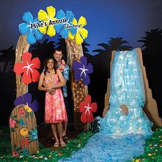Waterfall for vbs. Cardboard, blue fabric, & white lights!