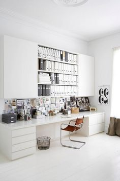 Furniture: Workspace Furniture Ideas With Long And Large Desk Also Wall Units For File Storage And Brown Modern Chairs With Stainless Steel Frame And White Flooring Ideas: 30 Inspirational Home Office Desks
