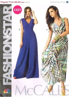 ON SALE McCalls M6760, Sewing Pattern,Fashion Star,  Misses Dress and Jumpsuit, Sizes 16, 18, 20, 22, 24