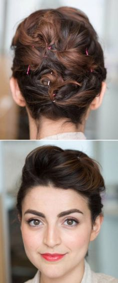 Cute simple updo for short hair.