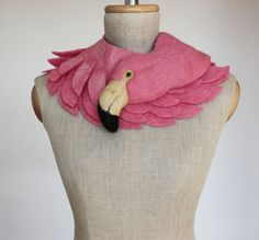 Pink Flamingo felted wool animal scarf by celapiu on Etsy