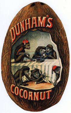 Vintage Advertisement  - Digital Download No. 41 -  Image File - Victorian Trade Card Dunham's Cocoanut. $2.99, via Etsy.