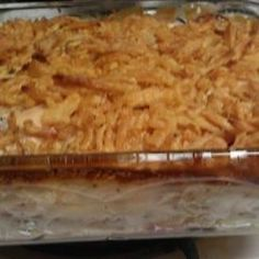 Chicken breast, hash browns, fried onions and cheese. Now that's country cookin' for ya! This is a wonderful easy recipe, especially if want a filling meal, but don't have time to stay in the kitchen. This is my mother-in-law's favorite dish, and it heats up well for leftovers.