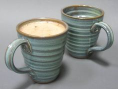 hand thrown pottery mugs - I like the swirls on this
