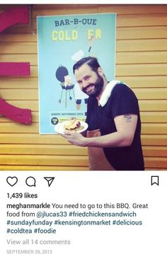 The Tig Meghan Markle, Fried Chicken Sandwich, Food To Go, Sunday Funday, Bbq, Charlotte Casiraghi, Cold, Marketing, Instagram