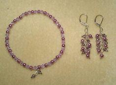 Lavender Pearl & crystal stretch bracelet & dangle earrings