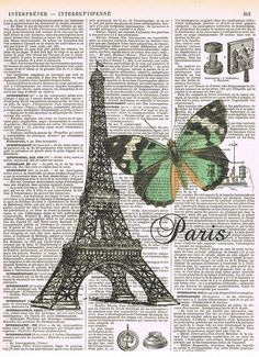 ParisButterfly.Eiffel Tower.Antique French
