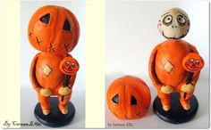 Original Halloween folk art doll Skelly Trick or Treat