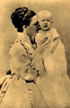 Florence & Lou Henry.  Mother and daughter in their first photo taken together in 1874.  Baby Lou would grow up to become FLOTUS Lou Henry Hoover.
