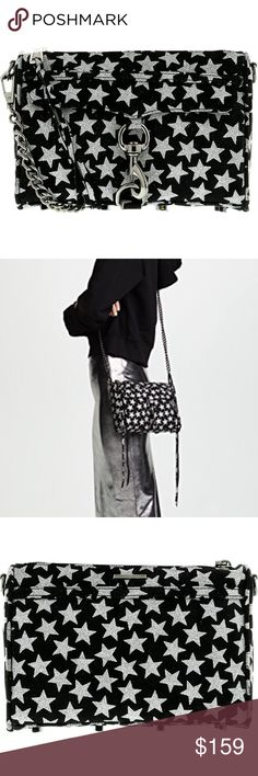 NWTs Rebecca Minkoff Mini MAC Crossbody Black magic woman. In super-soft suede, this Mini M.A.C. is patterned in glimmering stars with statement gunmetal hardware. It's big enough to fit your phone, keys, wallet and makeup essentials, but little enough to keep things effortless. while an optional chain strap lets you switch in a flash from handheld to crossbody style. - Top zip closure - Exterior zip pocket under flap - Interior wall pocket - Protective metal feet - Signature print lining…
