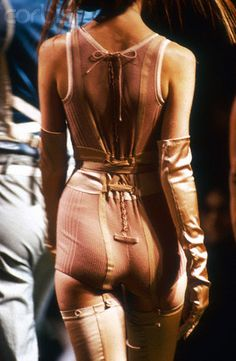 French designer house Jean Paul Gaultier shows its 1992 women's. Jean Paul Gaultier, Couture Fashion, Runway Fashion, High Fashion, Gothic Fashion, Fashion Details, Fashion Design, Beautiful Lingerie, Nylons