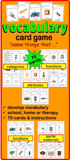 "Vocabulary Card Game ""Name things that ..."". Ideal for school home or therapy. Includes categories, functions, attributes, locations, parts/materials."
