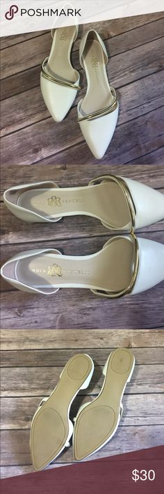 Rock & Republic white pointed flats These are brand new without the box. They're perfectly white and were purchased for my wedding rehearsal but I ended up wearing heels. They're so comfortable and the gold detail really makes them pop. Rock & Republic Shoes Flats & Loafers