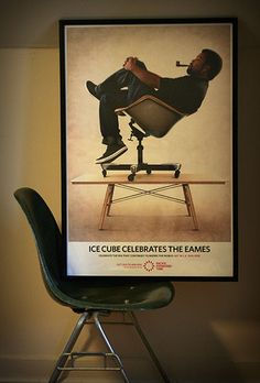 "Ice Cube Celebrates The Eames ""sitting"" on an #Eames fiberglass chair"