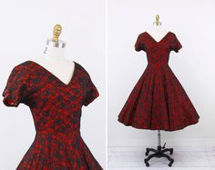 vintage+1950s+dress+/+50s+dress+/+Scarlet+Red+and+by+RococoVintage,+$124.00