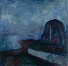 Edvard Munch  -    Starry Night, 1893  Oil on canvas,  53 3/8 x 55 1/8 in.  (Getty Museum)