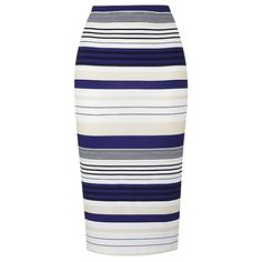Stripe Jersey Midi Tube Skirt (€48) ❤ liked on Polyvore featuring skirts, white skirt, striped jersey, white knee length skirt, mid-calf skirts and midi skirts