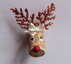 Wine Cork Reindeer Christmas Magnet New Handmade USA: