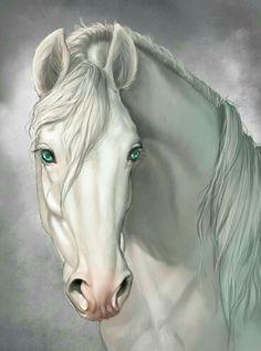 Creamy white horse painting with blue eyes. Lindas pinturas.