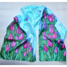 Scarf silk handpainted batik Scarf tulips and butterflies.Fashion... via Polyvore featuring accessories, scarves, pure silk scarves, silk shawl, batik scarves, butterfly scarves and silk scarves