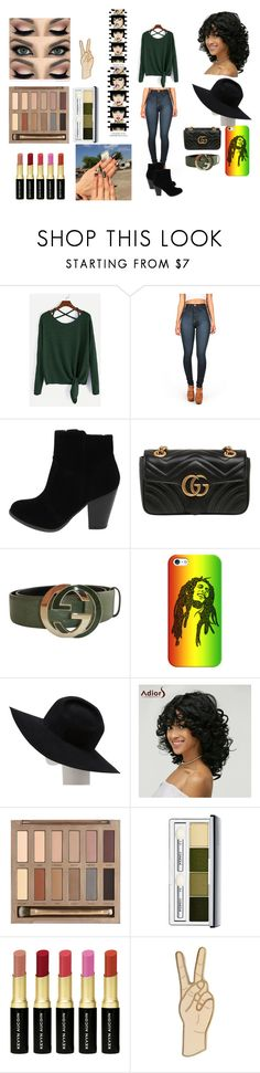 """Back at one"" by quilalala ❤ liked on Polyvore featuring Vibrant, Gucci, Casetify, Gladys Tamez Millinery, Urban Decay, Clinique, Kevyn Aucoin, Lucky Brand and Anja"