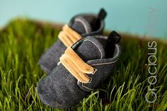 Blue Jean Pull-ons | Denim Jean Baby Boy High Tops Slip On SHoes soft soles | Gracious May $41 | MADE IN THE USA!