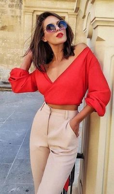 #fall #outfits women's red deep v-neck off-shoulder 3/4 sleeve crop top