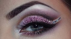 Sparkly defined mauve eye shadow accented with crystals by Stacey MakeUp.