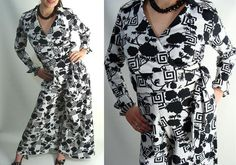 SALE was 124.95 Disco Costume. vintage 70s Outfit. 2pc Black & White Jumpsuit. Wrap Top. Bell Bottom Pants. Funky Clothing. size S XS by wardrobetheglobe on Etsy